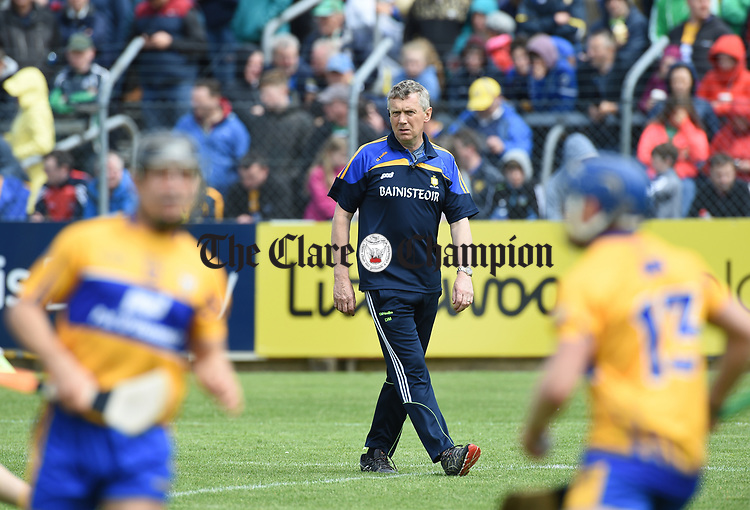 Donal Moloney, Clare joint manager, before their Munster championship game against Limerick in Ennis. Photograph by John Kelly.