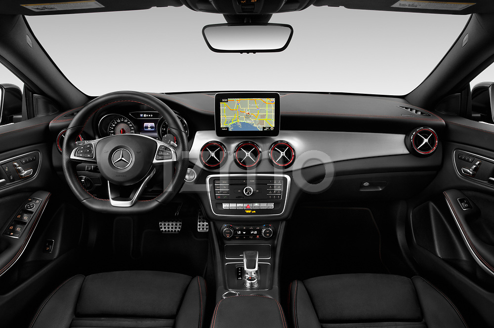 Stock photo of straight dashboard view of 2019 Mercedes Benz CLA-Coupe 45-AMG 4 Door Sedan Dashboard
