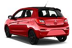 Car pictures of rear three quarter view of 2019 Mitsubishi Space-Star Black-Collection 5 Door Hatchback Angular Rear