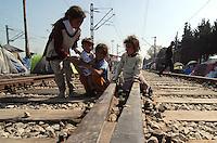 Idomeni / Greece 04042016<br /> Children living along the railway lines.<br /> Photo Livio Senigalliesi