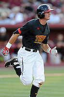 Right fielder Anthony Papio (13) of the Maryland Terrapins in an NCAA Division I Baseball Regional Tournament game against the South Carolina Gamecocks on Sunday, June 1, 2014, at Carolina Stadium in Columbia, South Carolina. Maryland won, 10-1, to win the tournament. (Tom Priddy/Four Seam Images)