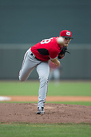 Carolina Mudcats starting pitcher Corbin Burnes (48) in action against the Winston-Salem Dash at BB&T Ballpark on May 21, 2017 in Winston-Salem, North Carolina.  The Mudcats defeated the Dash 3-0 in 10 innings.  (Brian Westerholt/Four Seam Images)