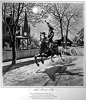 Paul Revere's Ride.  1775.  Copy of illustration by Modern Enterprises, ca. 1942. (OWI)<br /> Exact Date Shot Unknown<br /> NARA FILE #:  208-FS-3200-5<br /> WAR & CONFLICT #:  8