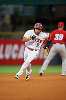 Louisville Bats first baseman Hernan Iribarren (2) running the bases during a game against the Columbus Clippers on May 1, 2017 at Louisville Slugger Field in Louisville, Kentucky.  Columbus defeated Louisville 6-1  (Mike Janes/Four Seam Images)