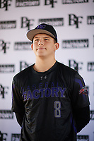Michael May (8) of Clear Springs High School in League City, Texas during the Baseball Factory All-America Pre-Season Tournament, powered by Under Armour, on January 12, 2018 at Sloan Park Complex in Mesa, Arizona.  (Zachary Lucy/Four Seam Images)