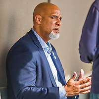 5 March 2016: Former Major League Baseball first baseman and current Executive Director of the Major League Baseball Players Association, Tony Clark chats with the media in the dugout prior to a Spring Training pre-season game between the Washington Nationals and the Detroit Tigers at Space Coast Stadium in Viera, Florida. The Nationals defeated the Tigers 8-4 in Grapefruit League play. Mandatory Credit: Ed Wolfstein Photo *** RAW (NEF) Image File Available ***