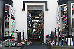 Shoe shop display, Harlech. Gwynedd North Wales UK.