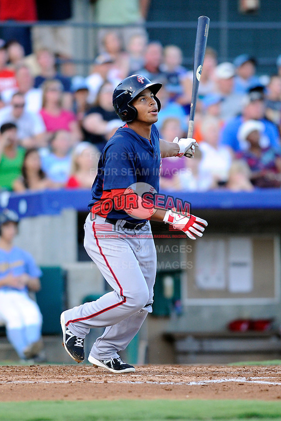 Shortstop Adrian Sanchez (10) of the Potomac Nationals in a game against the Myrtle Beach Pelicans on Friday, August 9, 2013, at TicketReturn.com Field in Myrtle Beach, South Carolina. Myrtle Beach won, 3-2. (Tom Priddy/Four Seam Images)