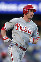 Chase Utley of the Philadelphia Phillies during a game against the Los Angeles Dodgers in a 2007 MLB season game at Dodger Stadium in Los Angeles, California. (Larry Goren/Four Seam Images)