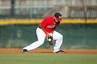 Hickory Crawdads first baseman Rock Shoulders (17) on defense against the Savannah Sand Gnats at L.P. Frans Stadium on June 15, 2015 in Hickory, North Carolina.  The Crawdads defeated the Sand Gnats 4-1.  (Brian Westerholt/Four Seam Images)