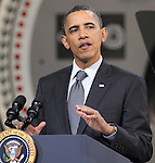 U.S. President Barack Obama speaks during a town hall discussion with workers of Gamesa Technology Corporation in Fairless Hills, Pennsylvania USA on April 6, 2011 about building a 21st century clean energy economy to win the future. Gamesa's Fairless Hills wind-energy turbine manufacturing facility employs approximately 300 workers and was built at a former U.S. Steel industrial site..Copyright EML/Rockinexposures.com.