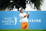 TAIPEI, TAIWAN - NOVEMBER 19:  Lu Chien Soon of Taiwan tees off on the 1st hole during day two of the Fubon Senior Open at Miramar Golf & Country Club on November 19, 2011 in Taipei, Taiwan.  Photo by Victor Fraile / The Power of Sport Images