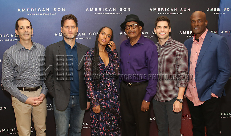 """The American Son team: playwright Christopher Demos-Brown, cast members Steven Pasquale, Kerry Washington, Eugene Lee,  Jeremy Jordan, and director Kenny Leon. attend the Cast photo call for the New Broadway Play """"American Son"""" on September 14, 2018 at the New 42nd Street Studios in New York City."""