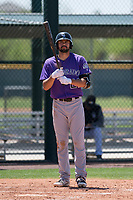 Colorado Rockies first baseman Jacob Bosiokovic (21) at bat during an Extended Spring Training game against the Chicago Cubs at Sloan Park on April 17, 2018 in Mesa, Arizona. (Zachary Lucy/Four Seam Images)