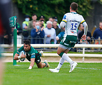 11th September 2021; Galway Greyhound Stadium, Connacht, Galway, Ireland; Pre-season rugby union, Connacht versus London Irish; Tiernan O'Halloran (Connacht) crosses the line in the 29th minute but the try is disallowed by the referee