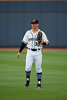 Akron RubberDucks Mitch Longo (30) during warmups before an Eastern League game against the Reading Fightin Phils on June 4, 2019 at Canal Park in Akron, Ohio.  Akron defeated Reading 8-5.  (Mike Janes/Four Seam Images)