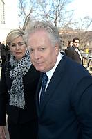 Micheline Dionne-Charest et  Jean Charest au funeraille de jean Lapierre, avril 2016
