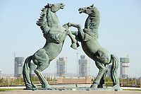 Huge bronze horses in Kangbashi district of the Chinese city of Ordos, Inner Mongolia. 12-May-2011