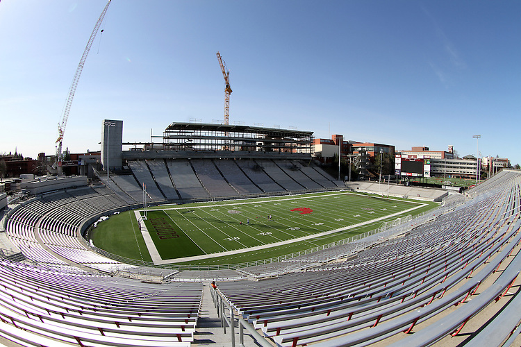 A fisheye look at the new press box construction at Martin Stadium on the Washington State University campus, just prior to a Spring football scrimmage under new head football coach, Mike Leach.
