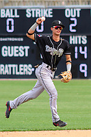 Lansing Lugnuts second baseman Kevin Vicuna (3) makes a throw during a Midwest League game against the Wisconsin Timber Rattlers on May 8, 2018 at Fox Cities Stadium in Appleton, Wisconsin. Lansing defeated Wisconsin 11-4. (Brad Krause/Four Seam Images)