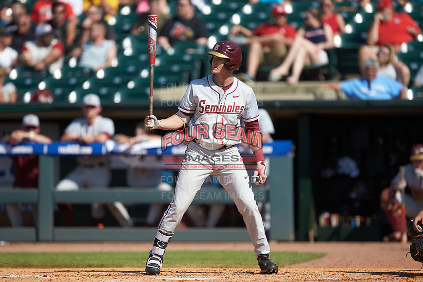 Jackson Lueck (2) of the Florida State Seminoles at bat against the Louisville Cardinals in Game Eleven of the 2017 ACC Baseball Championship at Louisville Slugger Field on May 26, 2017 in Louisville, Kentucky. The Seminoles defeated the Cardinals 6-2. (Brian Westerholt/Four Seam Images)