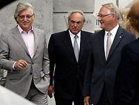 August 12, 2012 File Photo - Montreal (Quebec) CANADA -   <br /> Montreal upcoming 375th anniversary<br /> Preparation du 375 ieme anniversaire de Montreal<br /> <br /> Gilbert Rozon (L), Jacques Parisien (M) Gerald Tremblay (R)