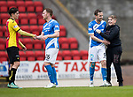 St Johnstone v Partick Thistle…13.05.17     SPFL    McDiarmid Park<br />Steven MacLean gets a well done from a fan at full time as saints qualify for Europe<br />Picture by Graeme Hart.<br />Copyright Perthshire Picture Agency<br />Tel: 01738 623350  Mobile: 07990 594431