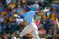 Tampa Bay Rays shortstop Tim Beckham (1) hits a home run in the top of the third inning during a Spring Training game against the Pittsburgh Pirates on March 10, 2017 at LECOM Park in Bradenton, Florida.  Pittsburgh defeated New York 4-1.  (Mike Janes/Four Seam Images)