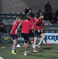 Lincoln City's Cian Bolger, right, during the pre-match warm-up with team-mates<br /> <br /> Photographer Andrew Vaughan/CameraSport<br /> <br /> The EFL Sky Bet League Two - Lincoln City v Exeter City - Tuesday 26th February 2019 - Sincil Bank - Lincoln<br /> <br /> World Copyright © 2019 CameraSport. All rights reserved. 43 Linden Ave. Countesthorpe. Leicester. England. LE8 5PG - Tel: +44 (0) 116 277 4147 - admin@camerasport.com - www.camerasport.com