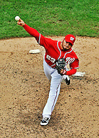 25 September 2011: Washington Nationals pitcher Henry Rodriguez on the mound against the Atlanta Braves at Nationals Park in Washington, DC. The Nationals shut out the Braves 3-0 to take the rubber match third game of their 3-game series - the Nationals' final home game for the 2011 season. Mandatory Credit: Ed Wolfstein Photo