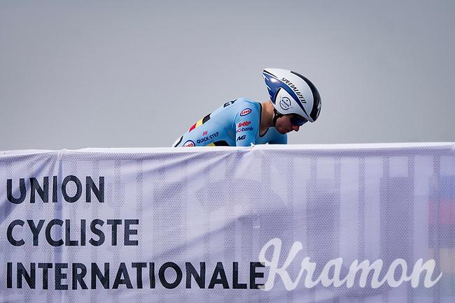 Remco Evenepoel (BEL/Deceuninck-Quickstep) on the start ramp<br /> <br /> Men Elite Individual Time Trial <br /> from Knokke-Heist to Bruges (43.3 km)<br /> <br /> UCI Road World Championships - Flanders Belgium 2021<br /> <br /> ©kramon