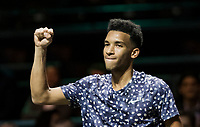 Rotterdam, The Netherlands, 12 Februari 2020,  Felix Auger-Aliassime (CAN) jubilates his win over Dimitrov (BUL)<br /> Photo: www.tennisimages.com