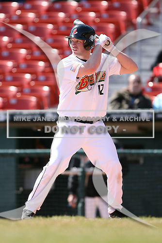 April 14th, 2008:  Jordan Brown (12) of the Buffalo Bisons, Class-AAA affiliate of the Cleveland Indians, during a game at Dunn Tire Park in Buffalo, NY.  Photo by:  Mike Janes/Four Seam Images
