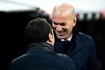 Real Sociedad's coach Eusebio Sacristan and Real Madrid's Real Madrid's coach Zinedine Zidane  during the match of La Liga between Real Madrid and   Real Sociedad at Santiago Bernabeu Stadium in Madrid, Spain. January 29th 2017. (ALTERPHOTOS/Rodrigo Jimenez)