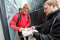 Fleetwood Town players sign autographs on arriving for the 2018/19 Pre Season Friendly match between Tranmere Rovers and Fleetwood Town at Prenton Park, Birkenhead, England on 21 July 2018. Photo by David Horn.