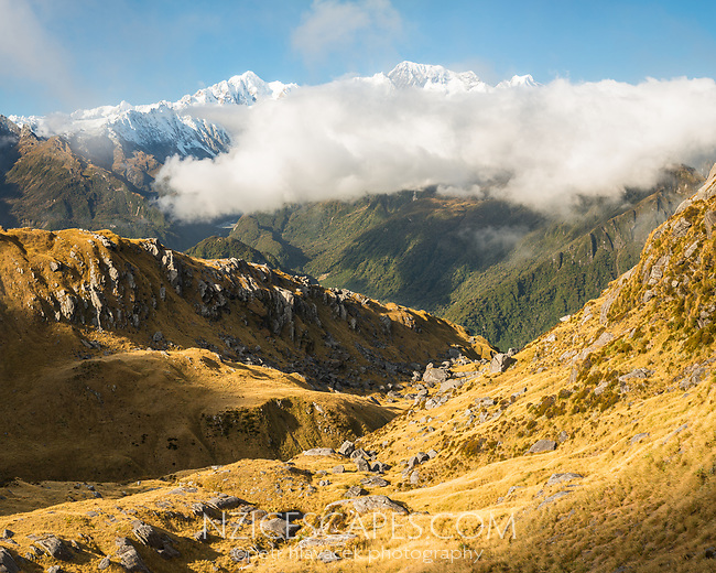 Southern Alps with main highest peaks Aoraki Mount Cook, Mount Tasman, Westland Tai Poutini National Park, UNESCO World Heritage Area, West Coast, New Zealand, NZ