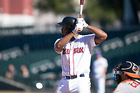 Mesa Solar Sox first baseman Josh Ockimey (28), of the Boston Red Sox organization, at bat during an Arizona Fall League game against the Glendale Desert Dogs at Sloan Park on October 27, 2018 in Mesa, Arizona. Glendale defeated Mesa 7-6. (Zachary Lucy/Four Seam Images)