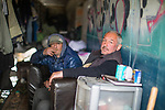 © Joel Goodman - 07973 332324 . 30/04/2017 . Salford, UK . Valeriy (43) (r) , from Lithuania . Homeless men are living in a towpath tunnel in Saford , in the shadow of the Ordsall Chord railway link and a large , Chinese-backed housing development. Photo credit : Joel Goodman