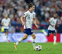 NASHVILLE, TN - SEPTEMBER 5: Brenden Aaronson #11 of the United States dribbles during a game between Canada and USMNT at Nissan Stadium on September 5, 2021 in Nashville, Tennessee.