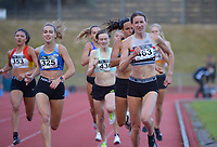 Katherine Camp (463, right) runs to victory in the elite women's 800m. 2021 Capital Classic athletics at Newtown Park in Wellington, New Zealand on Saturday, 20 February 2021. Photo: Dave Lintott / lintottphoto.co.nz
