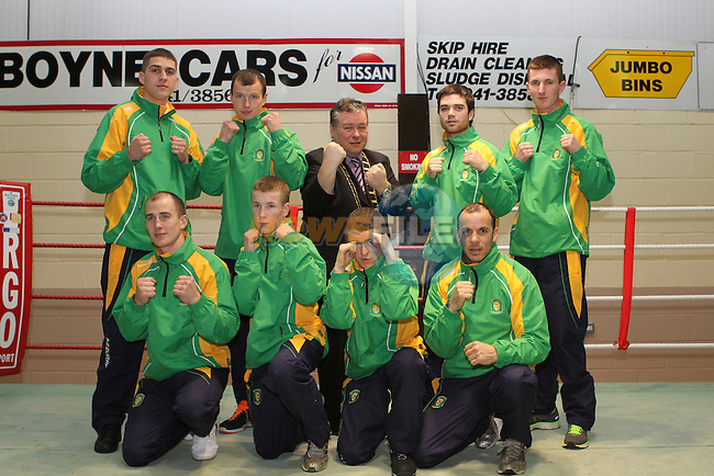 Holy Family Boxing Club Members who have been invited to travel to Toronto, pictured here with the Mayor Paul Bell...Photo NEWSFILE/Jenny Matthews..(Photo credit should read Jenny Matthews/NEWSFILE)