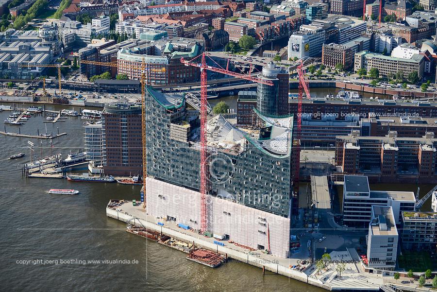 GERMANY, Hamburg, aerial view of HafenCity Harbour City at the river Elbe, with Elbphilharmonie a new Philharmonic Hall / DEUTSCHLAND, Hamburg, Hafencity, Fluß Elbe, Baustelle Elbphilharmonie im Jahr 2013
