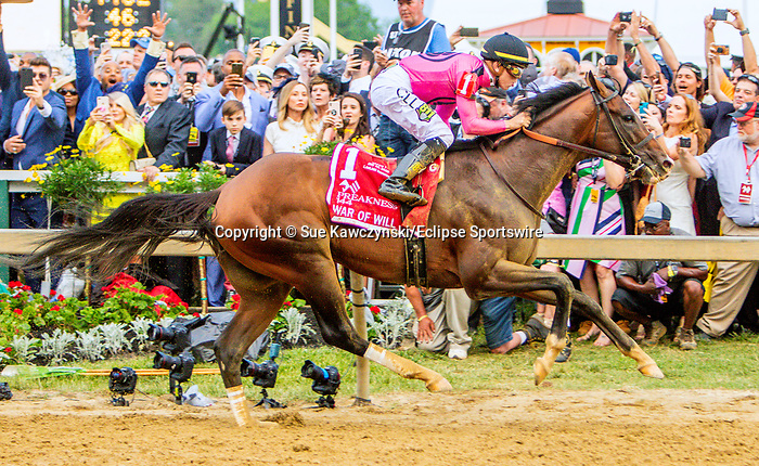 MAY 18, 2019 :War of Will, ridden by Tyler Gaffalione, wins the 144th running of the Preakness Stakes at Pimlico Racecourse, on May 18, 2019 in Baltimore, MD.  Sue Kawczynski_ESW_CSM