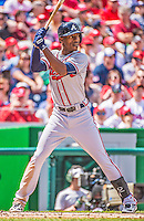 14 April 2013: Atlanta Braves outfielder B.J. Upton in action against the Washington Nationals at Nationals Park in Washington, DC. The Braves shut out the Nationals 9-0 to sweep their 3-game series. Mandatory Credit: Ed Wolfstein Photo *** RAW (NEF) Image File Available ***