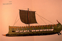 World Civilization:  Ancient ships, Phoenician or Assyrian Bireme of about 8th C.  B.C.  Zvi Herman, PEOPLES, SEAS, AND SHIPS.