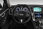 Steering wheel view of a 2014 Infiniti Q50 Sedan