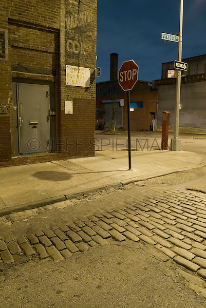 AVAILABLE FROM JEFF AS A FINE ART PRINT.<br /> <br /> AVAILABLE FROM JEFF FOR LICENSING.<br /> <br /> Street Scene at Dusk in the Vinegar Hill Neighborhood of Brooklyn, New York City, New York State, USA