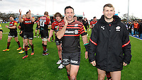 20130303 Copyright onEdition 2013©.Free for editorial use image, please credit: onEdition..A relaxed looking Neil de Kock (left) and Richard Wigglesworth of Saracens after winning the Premiership Rugby match between Saracens and London Welsh at Allianz Park on Sunday 3rd March 2013 (Photo by Rob Munro)..For press contacts contact: Sam Feasey at brandRapport on M: +44 (0)7717 757114 E: SFeasey@brand-rapport.com..If you require a higher resolution image or you have any other onEdition photographic enquiries, please contact onEdition on 0845 900 2 900 or email info@onEdition.com.This image is copyright onEdition 2013©..This image has been supplied by onEdition and must be credited onEdition. The author is asserting his full Moral rights in relation to the publication of this image. Rights for onward transmission of any image or file is not granted or implied. Changing or deleting Copyright information is illegal as specified in the Copyright, Design and Patents Act 1988. If you are in any way unsure of your right to publish this image please contact onEdition on 0845 900 2 900 or email info@onEdition.com