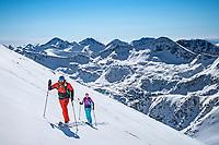 A ski tour through the Pirin Mountains of Bulgaria. Ski touring on Vihren, the Pirin Mountains highest peak at 2914 meters.