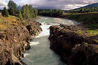 Bulkley River flowing through Moricetown Canyon, Moricetown, Northern BC, British Columbia, Canada